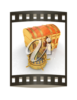 Crown and chest. 3d render. Film strip.