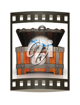 Earth in wood chest. Original global ecology concept of saved Earth. 3d illustration. Film strip.
