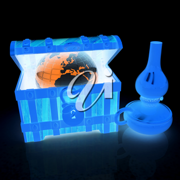 Earth in a chest and kerosene lamp. 3d illustration. On a black background.