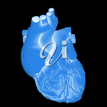 Yellow human heart. 3d illustration. On a black background.