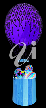 Hot Colored Air Balloon with a basket and Easter eggs inside. 3d render. On a black background.