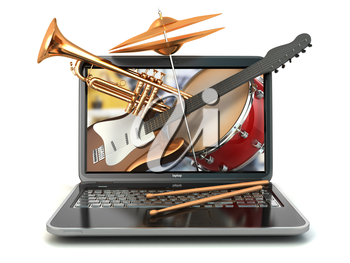 Digital music composer concept. Laptop and musical instruments. Guitar, drums and trumpet. 3d