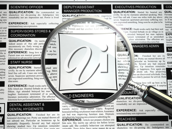 Job search concept. Loupe, newspaper with employment advertisements. Empty fild for text. 3d