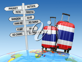 Travel concept. Suitcases and signpost what to visit in Thailand. 3d