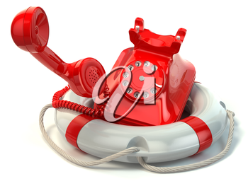 Help or support service concept. Telephone and life preserver isolated on white. 3d