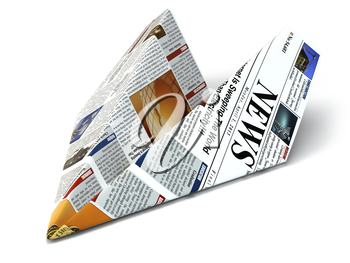 Extra news concept. Newspaper as paper airplane. 3d
