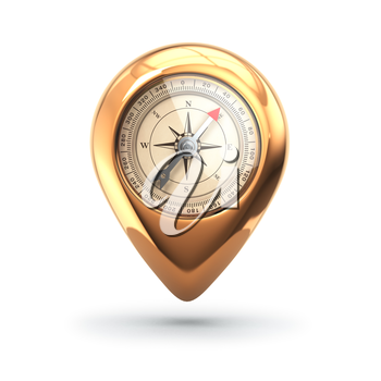 Navigation concept. Pin with compass isolated on white. 3d