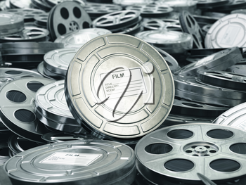 Cinema or movie concept. Video reels background. Films collection. 3d
