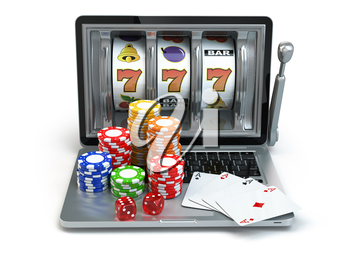 Casino online concept, gambling. Laptop slot machine with dice and cards. 3d
