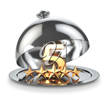 Five stars on cloche. Service rating concept of restaurant or hotel. 3d