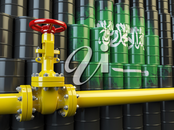 Oil pipe line valve in front of the Saudi Arabia flag on the oil barrels.  Gas and oil fuel energy concept. 3d illustration