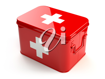 First aid kit isolated on white. 3d