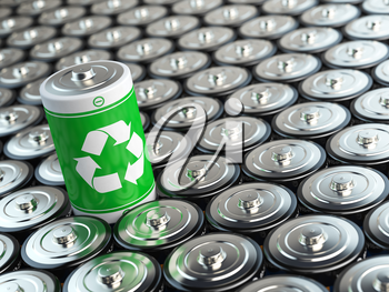 Battery recycling concept. Green energy, Background from battaries and one with green recycling sign. 3d illustration
