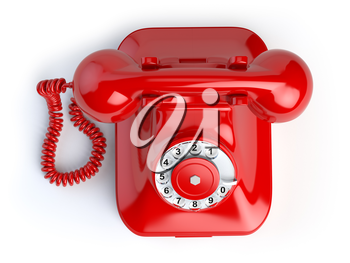Red vintage telephone isolated on white. Top view of phone. 3d illustration