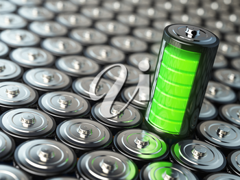 Battery charging concept. Green energy, Background from battaries and green one. 3d illustration