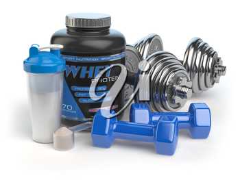 Whey protein with dumbbells and shaker. Sports bodybuilding  supplements or nutrition. Fitness or healthy lifestyle concept. 3d illustration