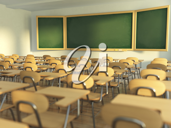 School classroom with empty school chairs and blackboard. Back to school concept. 3d illustration