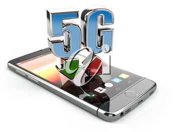 Mobile phone with 5G network standard communication. High speed mobile internet technology. Smartphone with text 5G isolated on white. 3d illustration