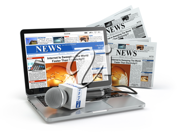 News concept. Laptop with microphone and newspaper isolated on white. 3d illustration