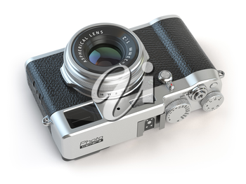Retro vintage camera  isolated on white. 3d illustration