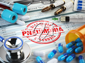 Pneumonia disease diagnosis. Stamp, stethoscope, syringe, blood test and pills on the clipboard with medical report. 3d illustration