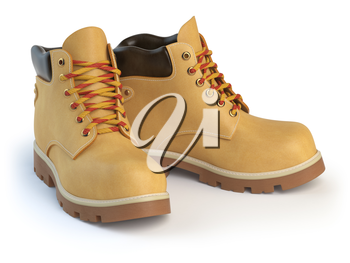 Yellow man�s  boots isolated on white background. 3d illustration