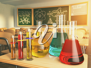 Laboratory glassware with formula on blackdesk in the school chemistry lab. 3d illustration