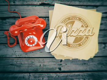 Pizza ordering and delivery concept. Vintage telephone and pizza boxes on wooden background. 3d illustration