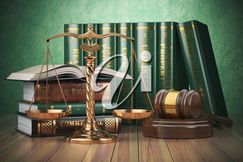 Gold scales of justice, gavel and books with differents field of law. Justice concept. 3d illustration