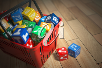 Application software icons  boxes in the shopping basket. Store of apps concept. 3d illustration