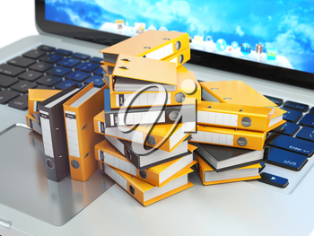 Laptop and pile of file cabinet with ring binders. Database, archive, computer data storage, office paperwork and electronic document management concept. 3d illustration