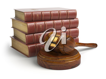 Gavel and lawyer books isolated on white. Justice, law and legal concept. 3d illustration