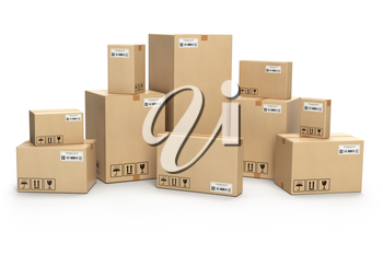 Cardboard boxes isolated on white. Delivery, cargo, logistic and transportation warehouse storage  concept. 3d illustration
