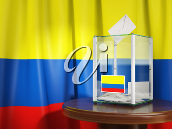 Ballot box with flag of Colombia  and voting papers. Colombian presidential or parliamentary election. 3d illustration