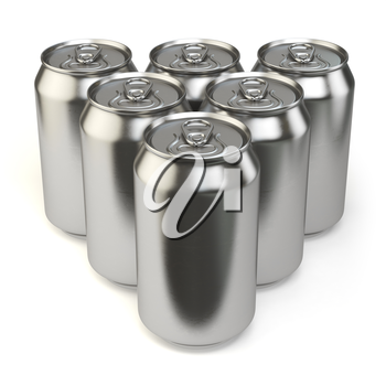 Beer cans isolated on white background. 3d illustration