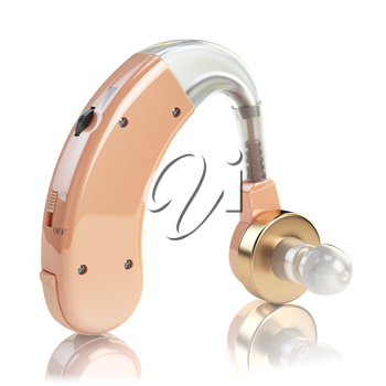 Hearing aid on white isolated background. Deaf ear aid. 3d illustration