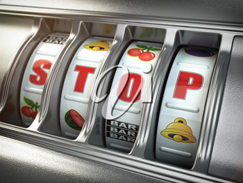 Stop gambling addiction concept. Slot machine with text stop. 3d illustration