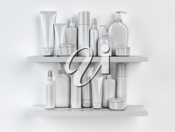 Shelf with cosmetics and toiletries. 3d illustration
