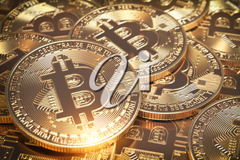 Bitcoins hepa. Golden virtual currency coins background. 3D Illustration.