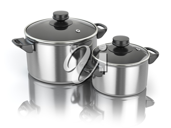 Stainless steel cooking pot isolated on white background. 3d illustration