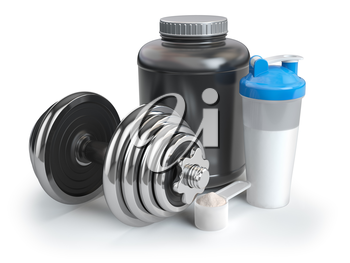 Whey protein powder  in scoop with shaker and dumbbell.Bodybuilder nutrition concept. 3d illustration