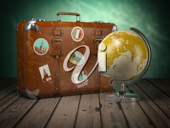 Old suitcase with globe on wood  background. Travel or tourism concept.  3d illustration