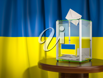 Ballot box with flag of Ukraine and voting papers. Ukrainian presidential or parliamentary election.  3d illustration