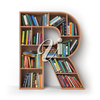 Letter R. Alphabet in the form of shelves with books isolated on white. 3d illustration