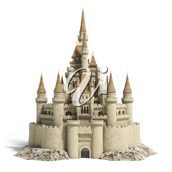Old fairytale castle on the hill isolated on white. 3d illustration.