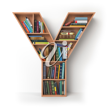 Letter Y. Alphabet in the form of shelves with books isolated on white. 3d illustration