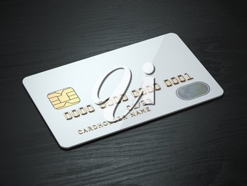 White blank credit cards mockup on black wood table background. 3d illustration