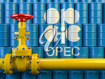 Oil pipe line valve in front of the barrels with OPEC siymbol. 3d illustration