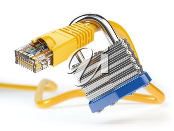 Network ethernet cable locked with padlock isolated on white background. Internet security and data protection concept. 3d illustration