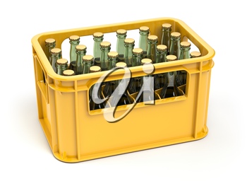 Crate full of beer bottles isolated on white background. 3d illustration